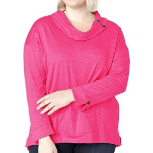 Neon Buddha Anita Long Sleeve Pink Cowl Neck Top 1X